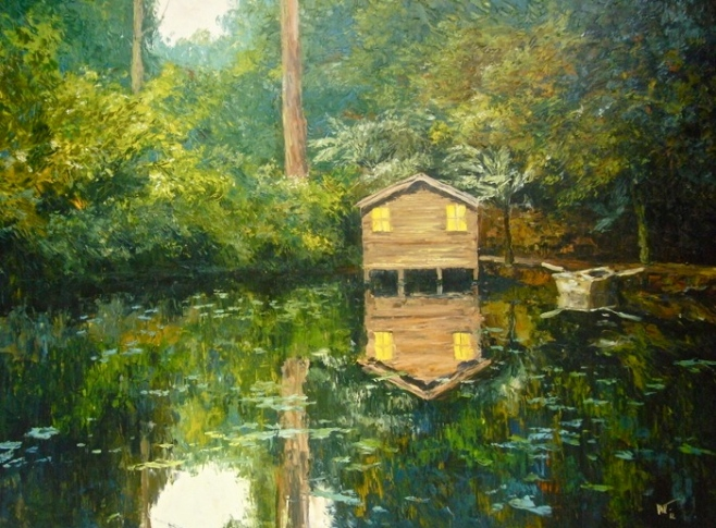 """The Boathouse at Alfred Nicholas Memorial Gardens""  Oil 160x120cm (diio)"