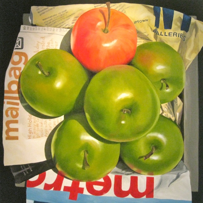 """5 Green Apples"" 100cm x 100cm (aiio)"