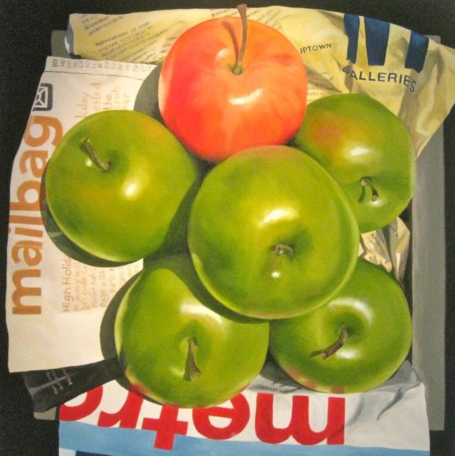 """""""5 Green Apples"""" 100cm x 100cm (aiio)"""