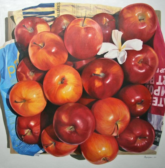 """Apples and Frangipani II"" 150cm x 150cm (eiio)"