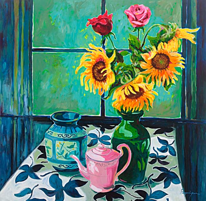 """Sunflowers and Teapot"" 100cmx100cm (aiio)"