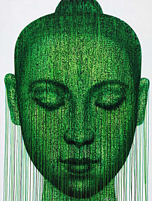 """Green Meditation"" 115x145cm (eiio)"
