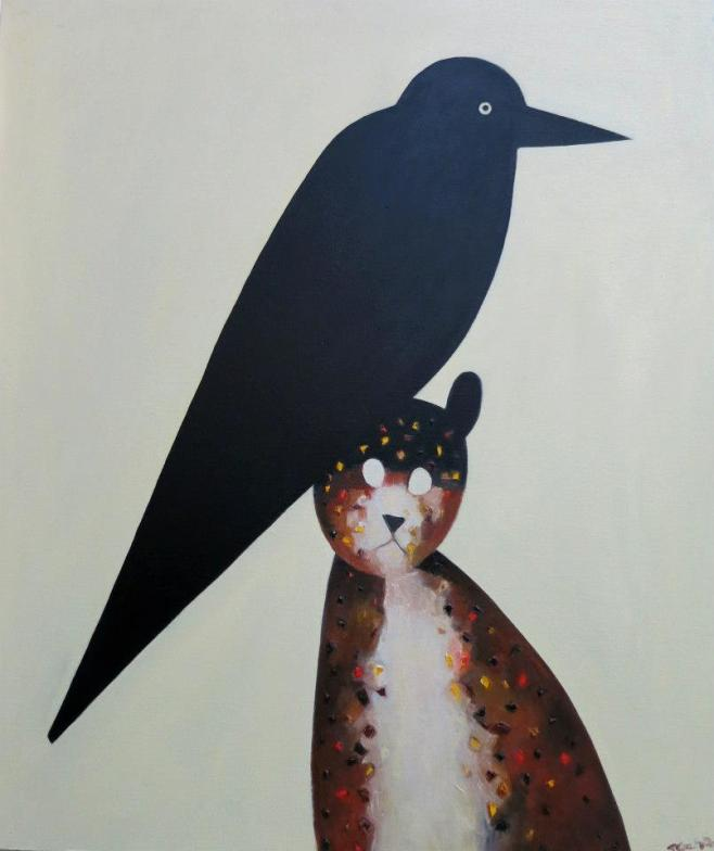 """Feral Cat with Magpie"" 72 x 85cm (aeio)"