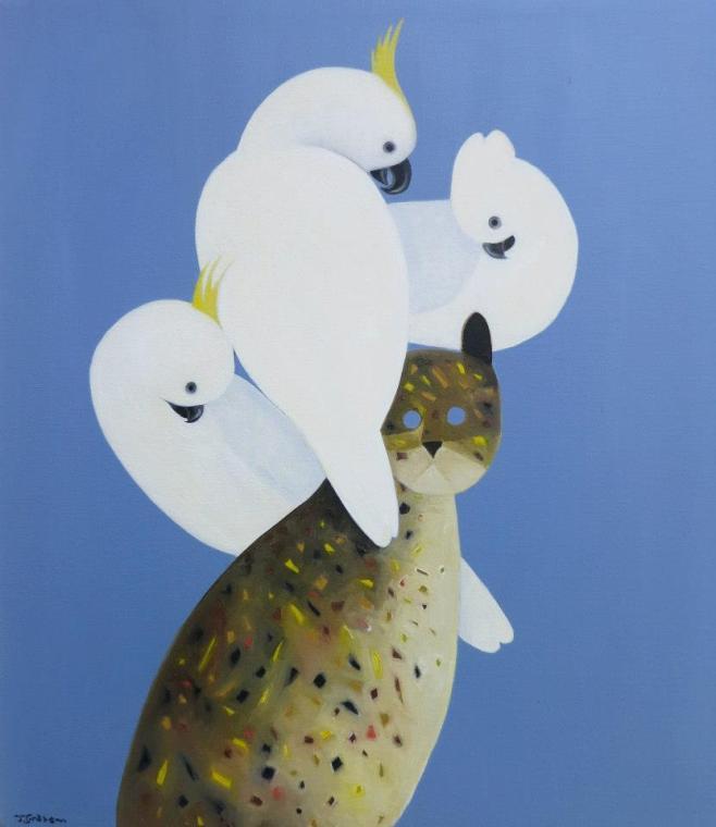"""""""Feral Cat with 3 Cockatoos"""" 72 x 85cm (aeio)"""