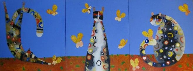 """Butterflies"" Triptych, 216 x 85cm (ciio)"