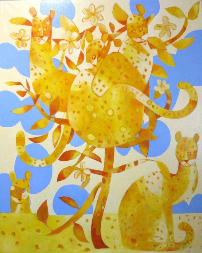 """Feral Cat and Frangipani II"" 122cm x 152cm (ciio)"
