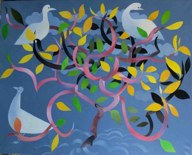 """Frangipani with Doves"" 152cm x 122cm (ciio)"