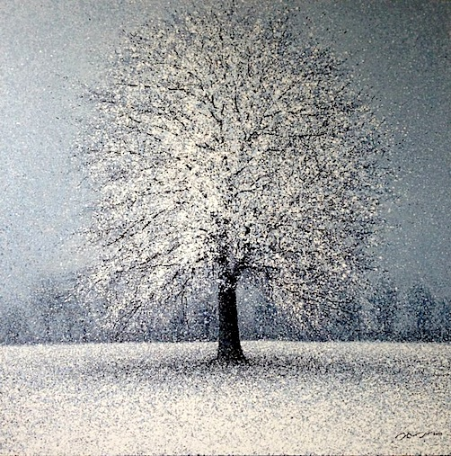 """Snowfall"" 120x120cm on display at Tusk Gallery"