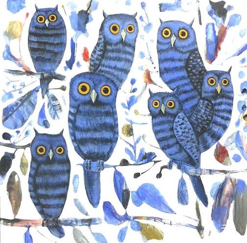 """Owls"" 100x100cm"