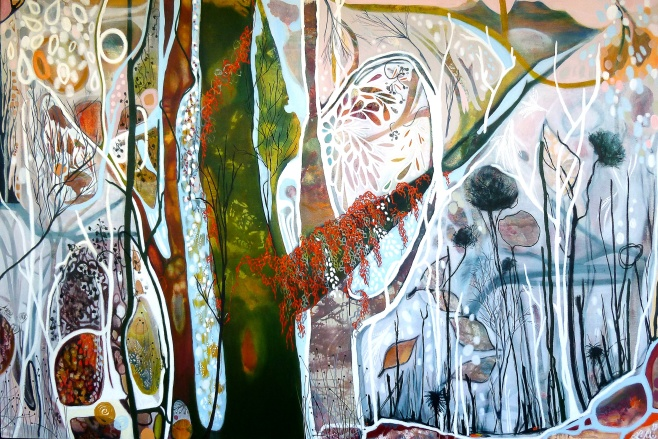 "Lisa Morgan, ""Autumn, Sliding Into Winter, Cradle Mountain Plateau"" 180x120cm (cbeo) Acrylic, Oil Stick and Charcoal"
