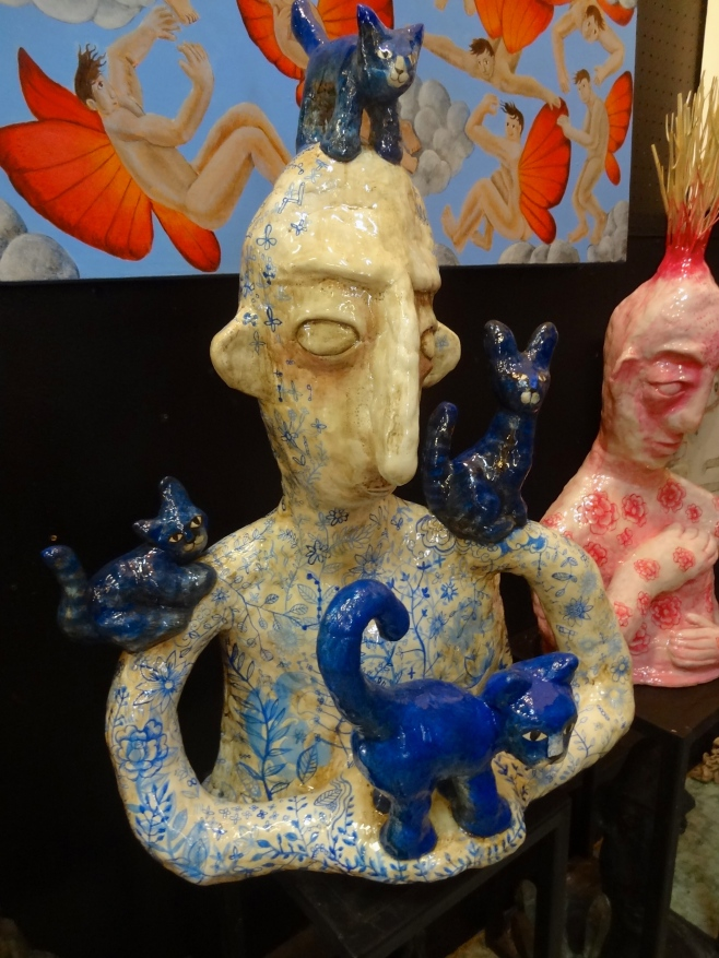 """Mad with 4 Blue Cats"" Sculpture"