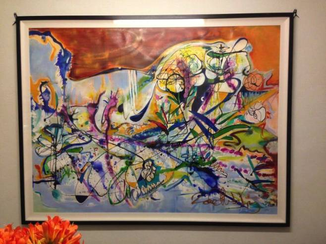 """Kingfisher's Bouquet"", Approx. 200x150cm, mixed media on watercolour paper, framed in black frame"