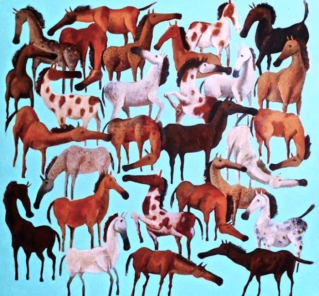 """""""Horses"""" 120x120cm"""