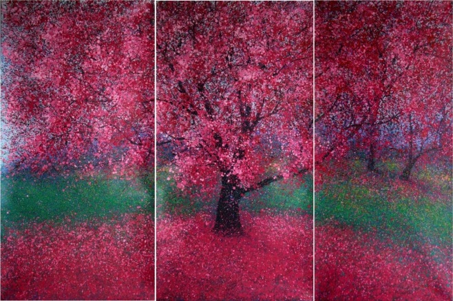 """""""Spring Triptych I"""" total size 300x190cm"""