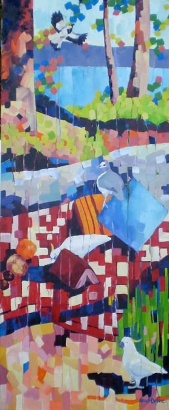 """The Picnic"" #2, 76x183cm, triptych"