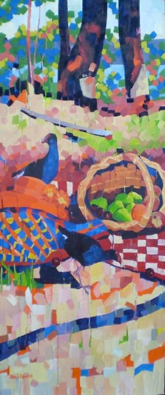 """The Picnic"" #1, 76x183cm, triptych"
