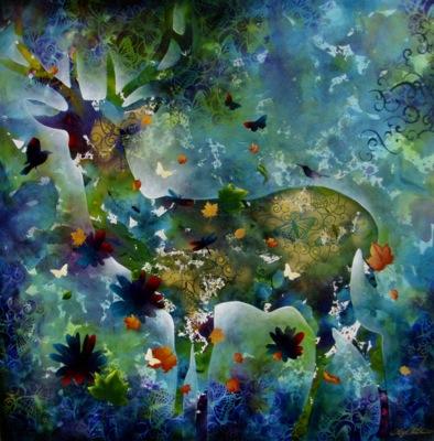 """Floral Elk"" 150x150cm"