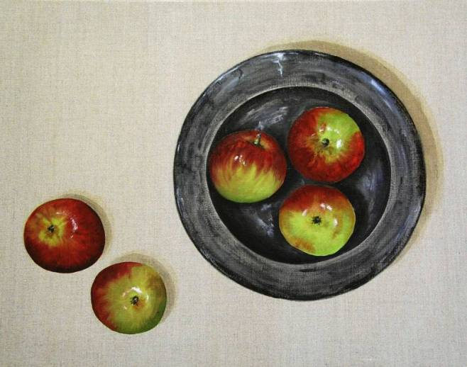 """Five Red Apples and Bowl"" 51x41cm"