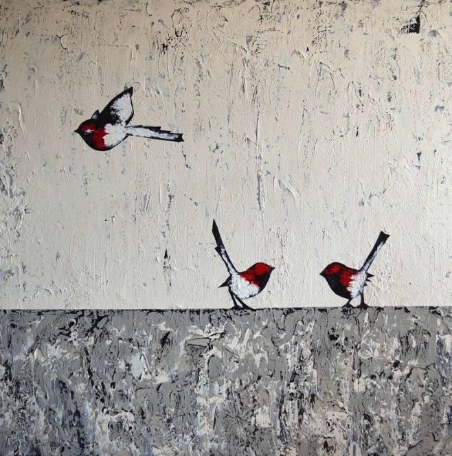 """Three Red Wrens"" 122x122cm"