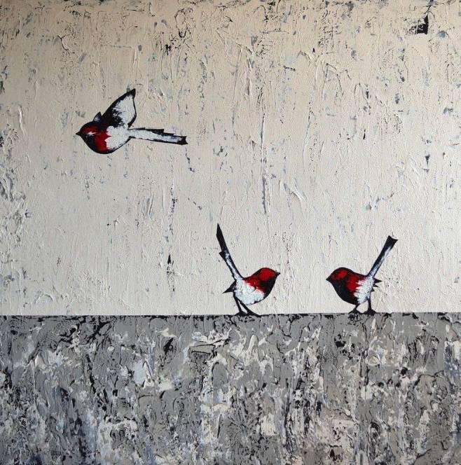 """Three Red Wrens"" 122x122cm"