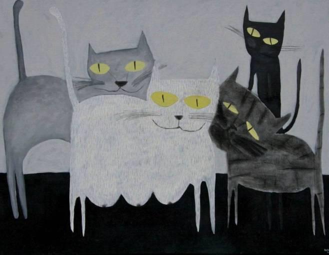 """4 Cats"" 90x70cm"