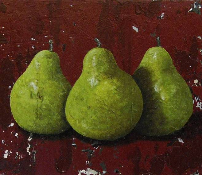 """Three Green Pears on Red"" 30x35cm"