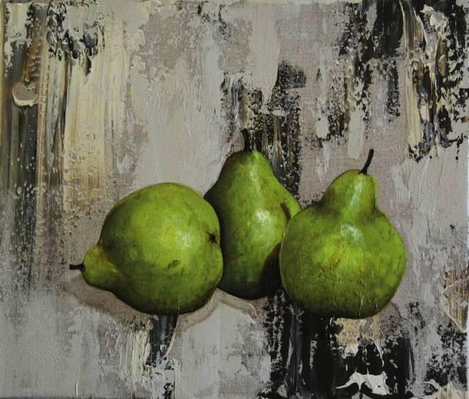 """Three Pears on Linen I"" 30x36cm"