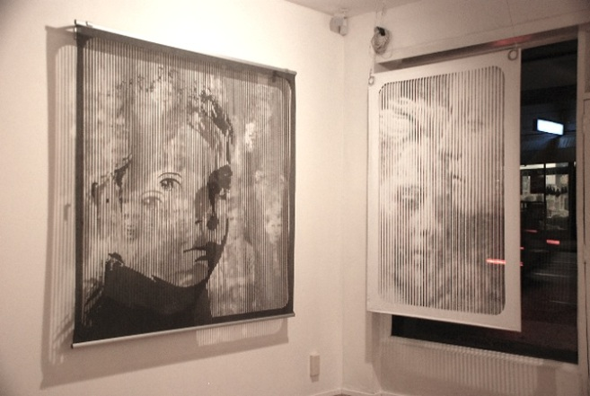 "Left: ""Formation"" Hand cut fabric 180x180cm Right: ""Dream Screen"" 120x180cm"