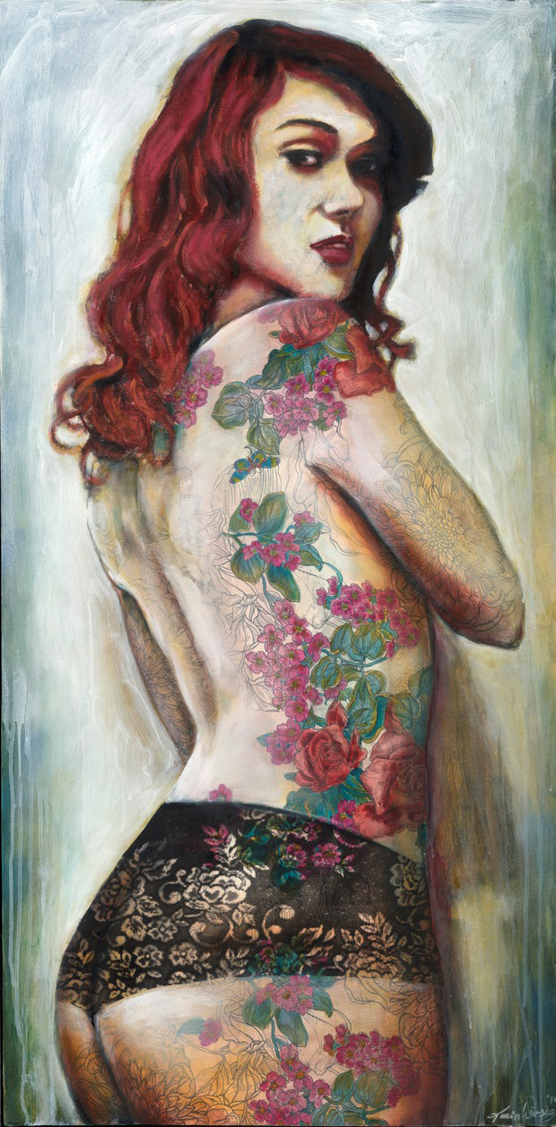 """Cherry Suicide""; acrylic and m.m. on canvas, 61x122cm"
