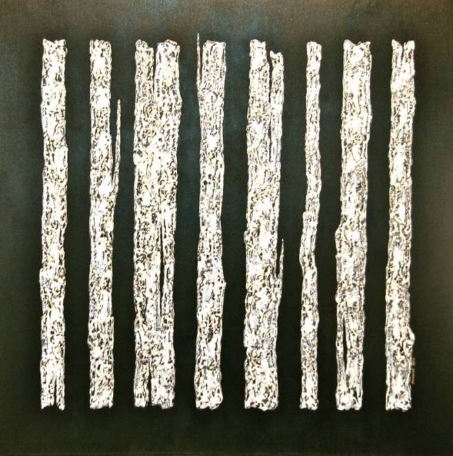 """Bark on Black"" 100x100cm (agio) framed in a shadow box frame"