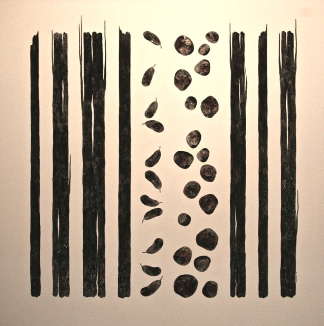"""Natural Elements I"" 150x150cm, in a dark wood shadow frame (beoo)"