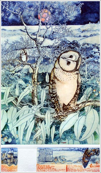 """Masked Owl"" 48x78cm, Edition of 100 Multi-plate photopolymer etching $700"