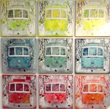 """""""W-Class trams"""", various colours, 90x90cm."""