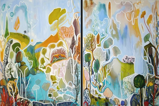 """Against the Water, Above the Mountains"" 180x120cm, diptych, Acrylic on canvas"