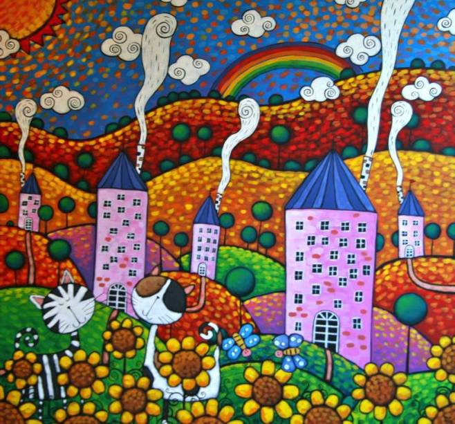 """""""Pink Towers"""" 100x100cm"""