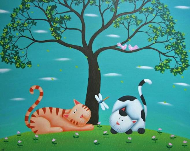 """2 Cats"" 100x80cm"