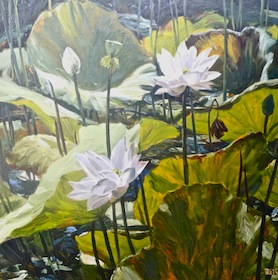 "Dusit Pimchanthong, ""Water Lillies"" 100x100cm, oil on canvas"
