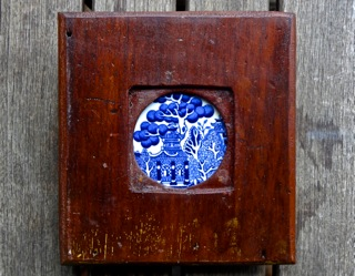 Handmade collectible with tea house blue ceramic tile SOLD