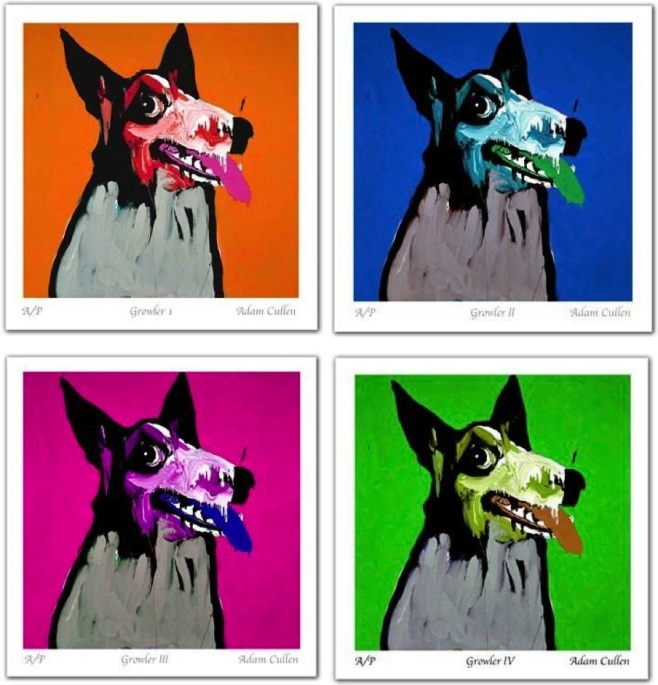 "The 4 colours available in the ""Growler"" Limited Edition Print, hand signed by Cullen himself"