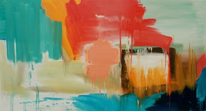 """""""Sunshine on a Rainy Day"""" 180x100cm, oil on canvas"""
