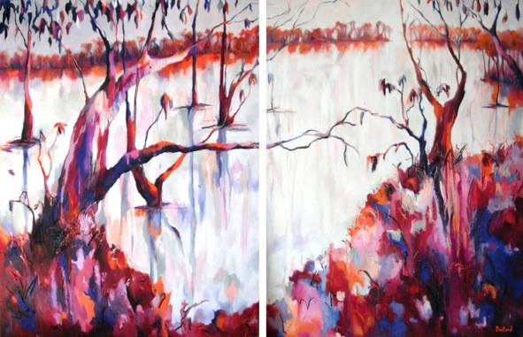 "Kristine Ballard ""Reprise of the Kindred Souls"", framed diptych, oil and charcoal on canvas 192x125cm"