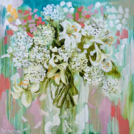 """""""Fleur Blanc Frais"""" 120x120cm"""