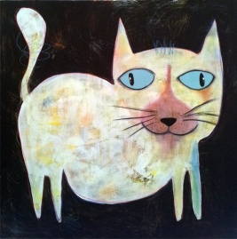 Cat with Blue Eyes by Anchana 80x80cm $590