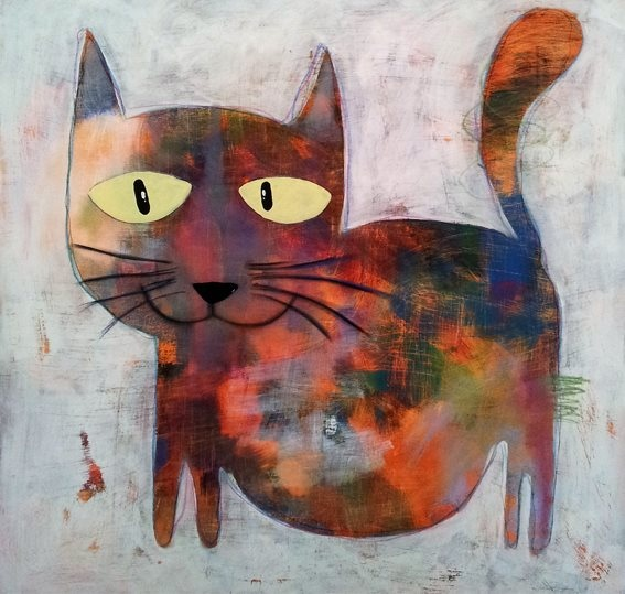 Cat with Yellow Eyes by Anchana 80x80cm $590