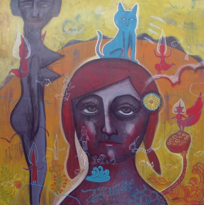 Girl With Blue Cat by Padpungpol 100x100cm $990