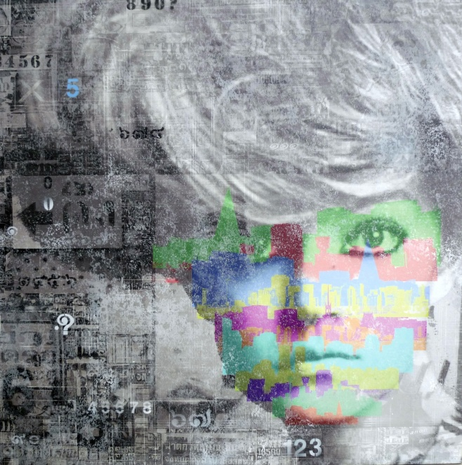 Multi media face by Pansa 100x100cm $1500