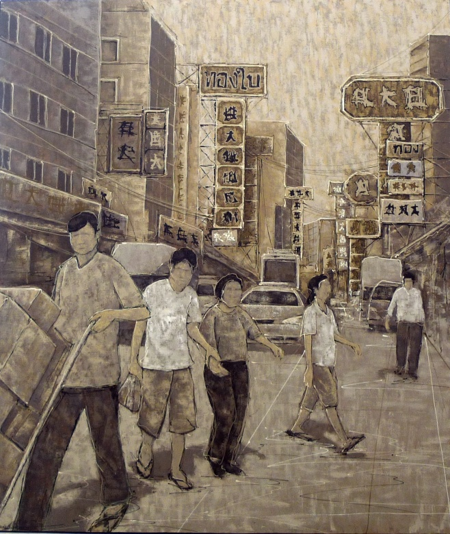 Bangkok Street Scene by Nitichai 190x220cm $3990
