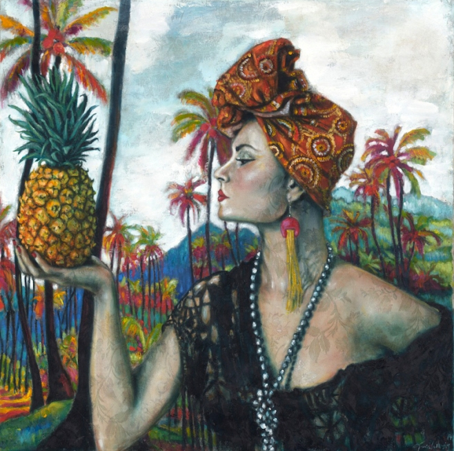 "Tania Wursig ""Nikita Margarita and the Pineapple"" 100x100cm"