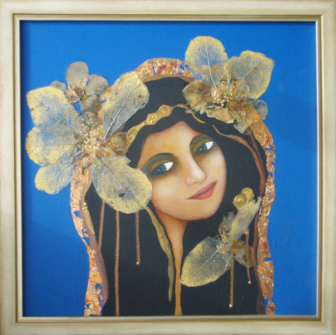 Flower Princes 50x50cm includes frame (eao)