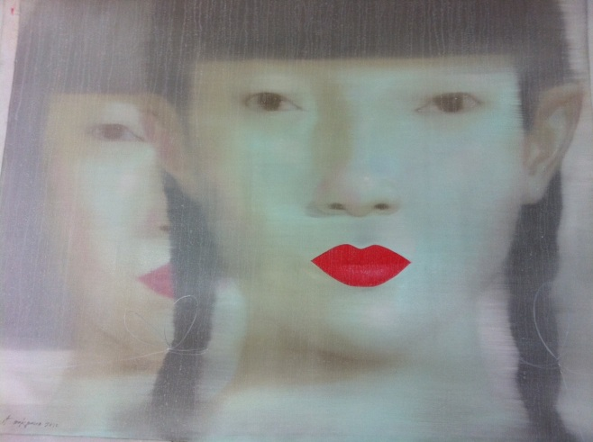 "Tusk Gallery : Attasit Pokpong : ""Two Beauties"" : 2011 : Oil On Canvas : 150x120cm"